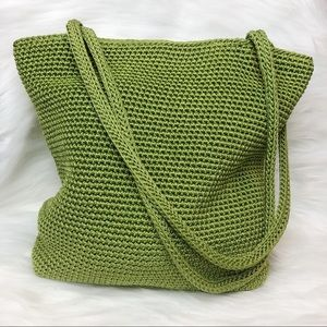 The Sak Hobo Shoulder Bag Crocheted Lime Green